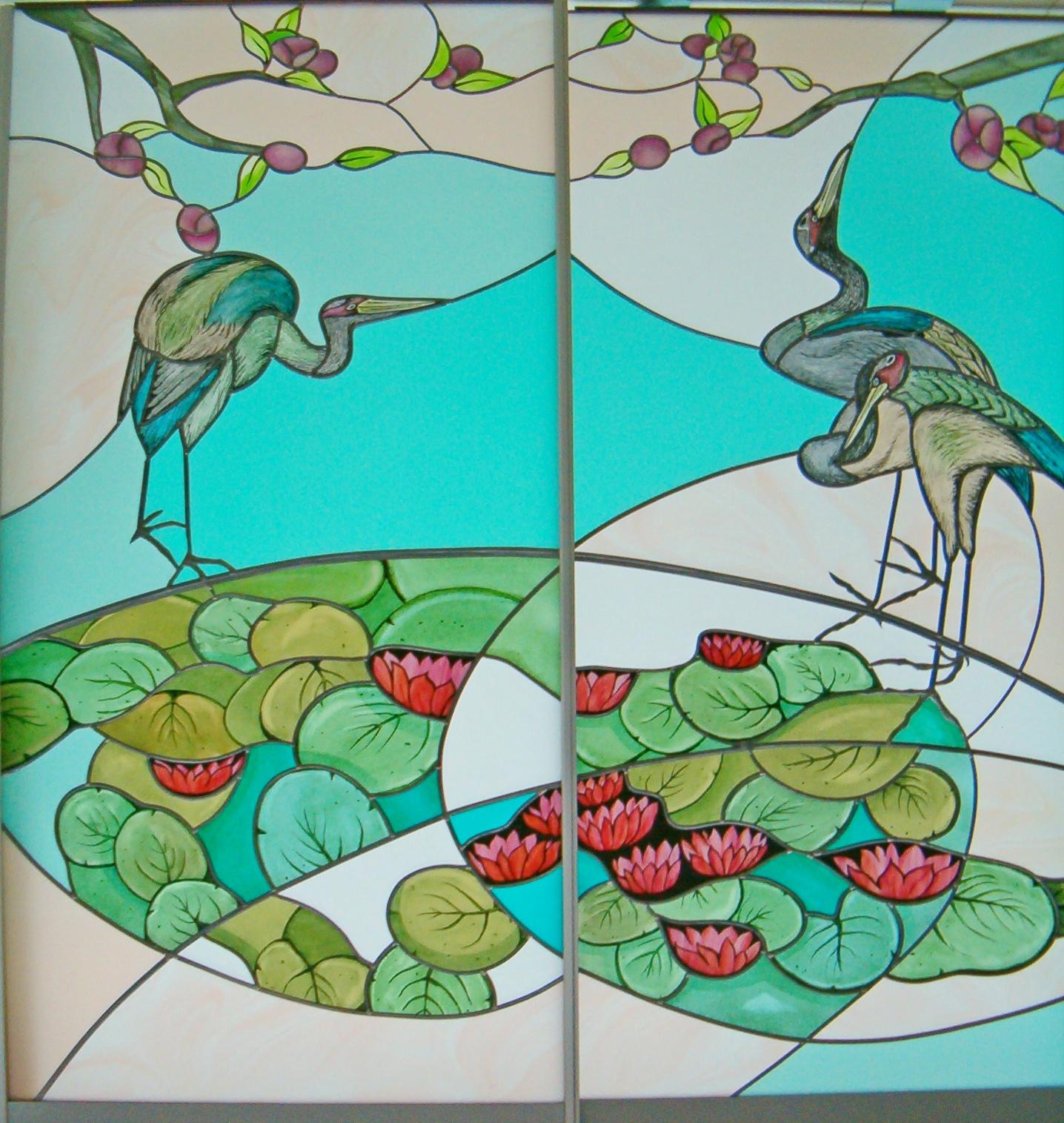 vitrail sur porte coulissante double sur le th me de la nature groupe salmon. Black Bedroom Furniture Sets. Home Design Ideas