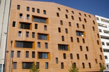 Pose d'un bardage bois sur les façades d' un immeuble de bureaux à Metz