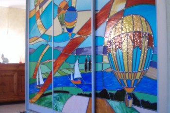 Création vitrail d'art portes de placard